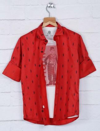 Blazo red printed pattern slim collar shirt