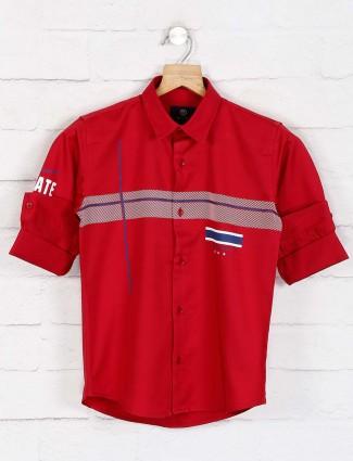 Blazo red stripe slim collar casual shirt