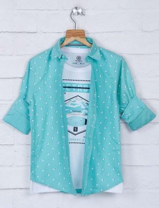Blazo sea green hue printed cotton shirt