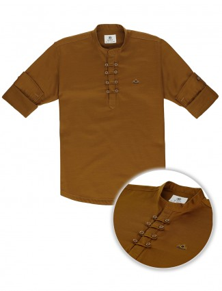 Blazo solid brown casual wear kurta shirt