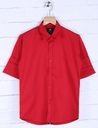 Blazo solid red casual wear shirt