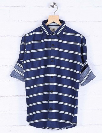 Blazo stripe navy cotton shirt
