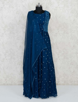 Blue anarkali salwar suit in georgette for festivals