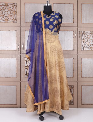 Blue and beige silk wedding anarkali suit