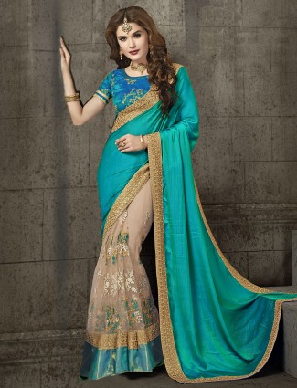 Blue and beige wedding silk saree