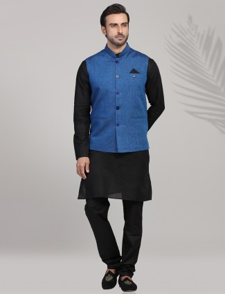 Blue and black colored party wear waistcoat set