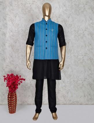 Blue and black stripe patern cotton waistcoat set