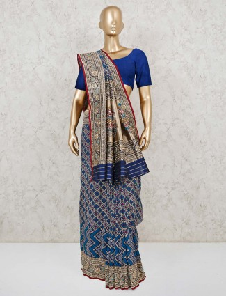 Blue and Gold bandhej wedding saree