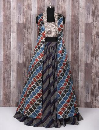 Blue and grey printed cotton lehenga choli