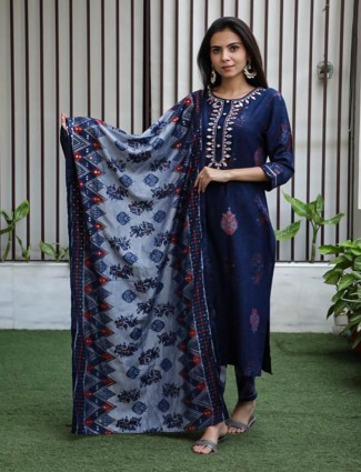 Blue and Light grey printed kurti set in cotton