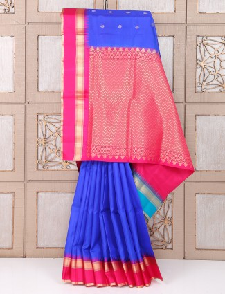 Blue and magenta color wedding silk fabric saree