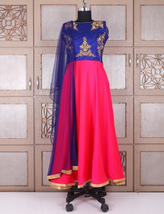 Blue and magenta silk wedding anarkali suit