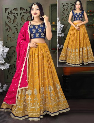 Blue and mustard yellow georgette lehenga choli