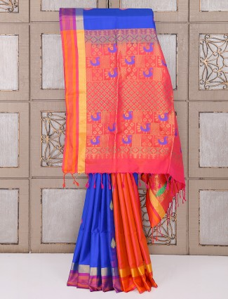 Blue and orange olor silk saree