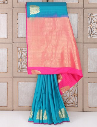 Blue and pink color semi silk saree