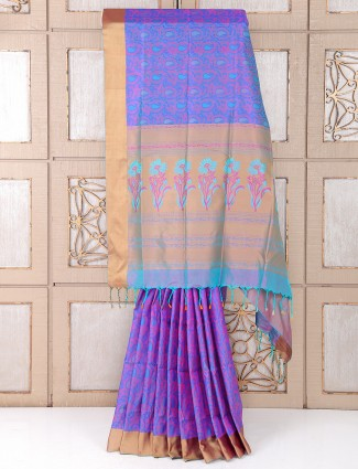 Blue and pink silk festive wear saree
