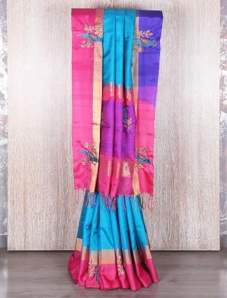 Blue and pink south silk saree