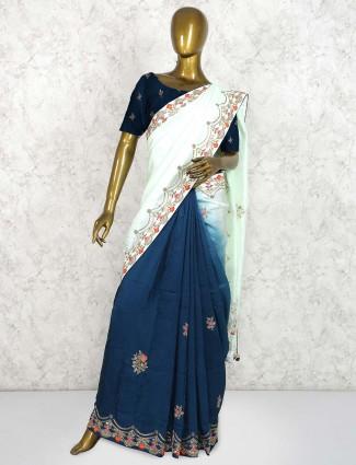 Blue and pista green half and half saree in pure silk