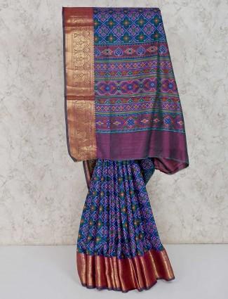 Blue and purple cotton silk saree in festive