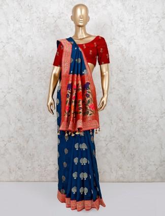 Blue and red colored semi banarasi silk saree