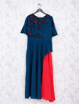 Blue and red designer kurti
