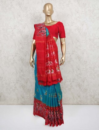 Blue and red patola silk saree design