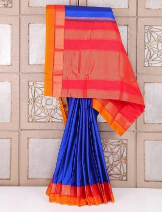 Blue and red south silk wedding saree