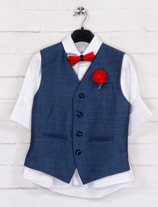 Blue and white boys terry rayon waistcoat