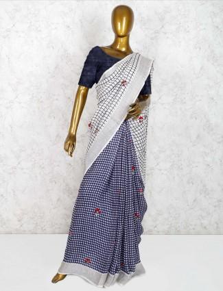 Blue and white checks half and half saree