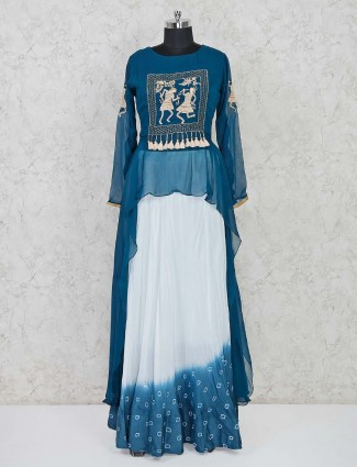 Blue and white indo western salwar suit in cotton