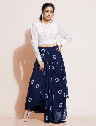 Blue and white indo western salwar suit in georgette with crop top blouse