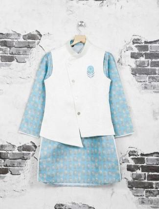 Blue and white jute waistcoat set