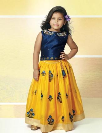 Blue and yellow girls lehenga choli