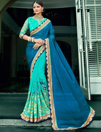 Blue aqua chiffon half and half saree