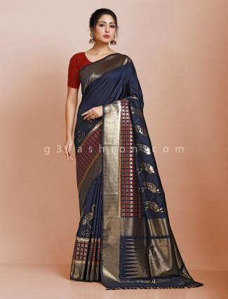 Blue banarasi silk saree for wedding wear