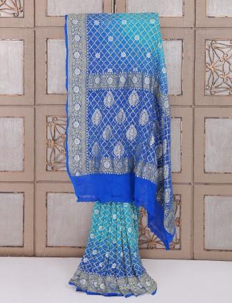Blue bandhej saree for wedding