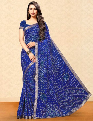 Blue bandhej saree in georgette