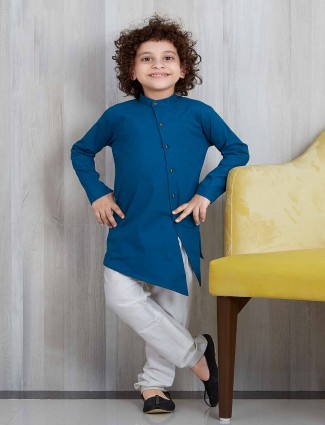 Blue bandhgala cotton silk kurta suit