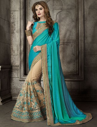 Blue beige half and half saree
