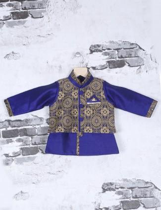 Blue black silk wedding wear waistcoat set