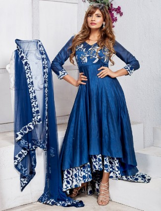 Blue chanderi silk anarkali suit