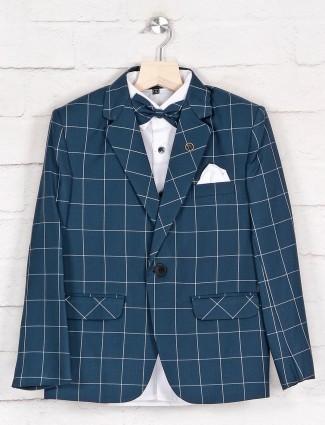 Blue check notch lapel terry rayon tuxedo coat suit