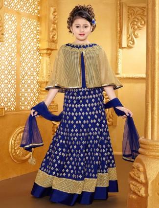 Blue classy cape style designer lehenga choli