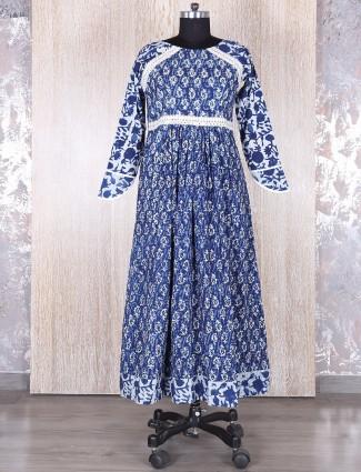 Blue classy cotton printed kurti