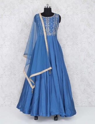Blue color anarkali suit in cotton fabric