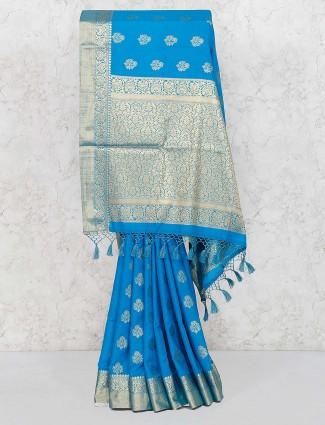Blue color banarasi semi silk fabric saree