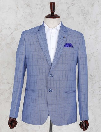 Blue color checks pattern blazer