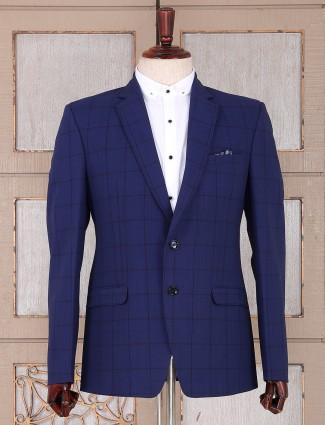 Blue color checks pattern mens blazer