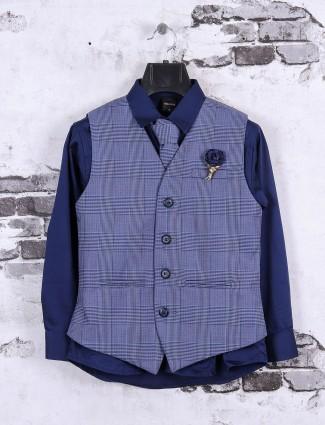 Blue color checks pattern waistcoat set