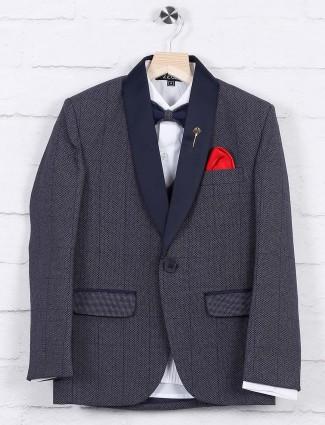 Blue color checks terry rayon fabric tuxedo suit